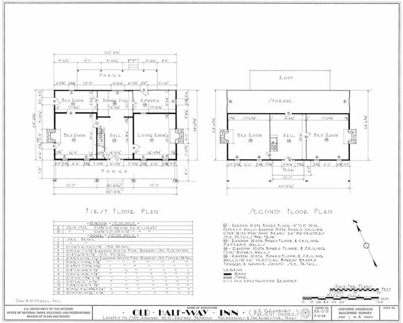 Halfway Inn Measured Drawing of Floor Plan