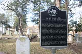 Thomas H. Ball historical marker next to tombstone at Oakwood Cemetery.