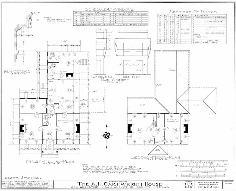 Cartwright House Measured Drawing of Floor Plan