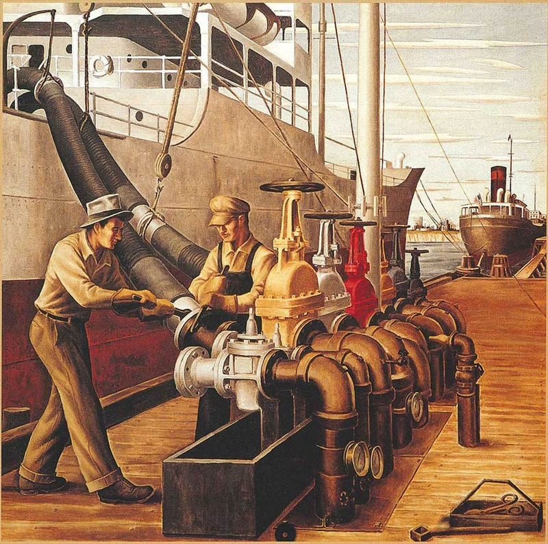 """Loading Oil"" - Jerry Bywaters (1941)"