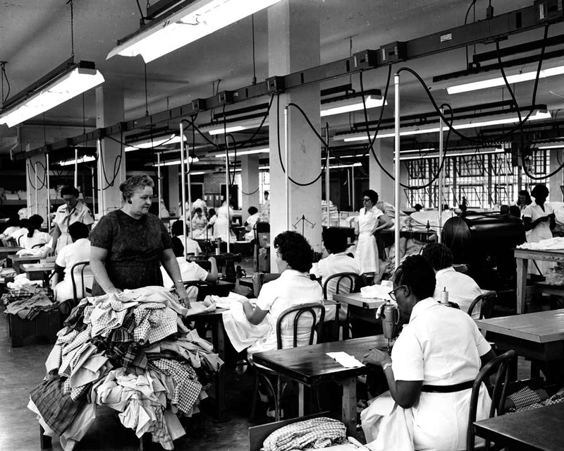 Warden Velda Dobbs and female inmates in the Goree Unit's Garment Factory, circa 1963.
