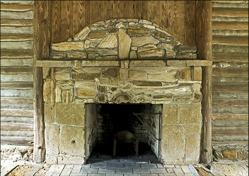 Limestone and Wood Composite Fireplace