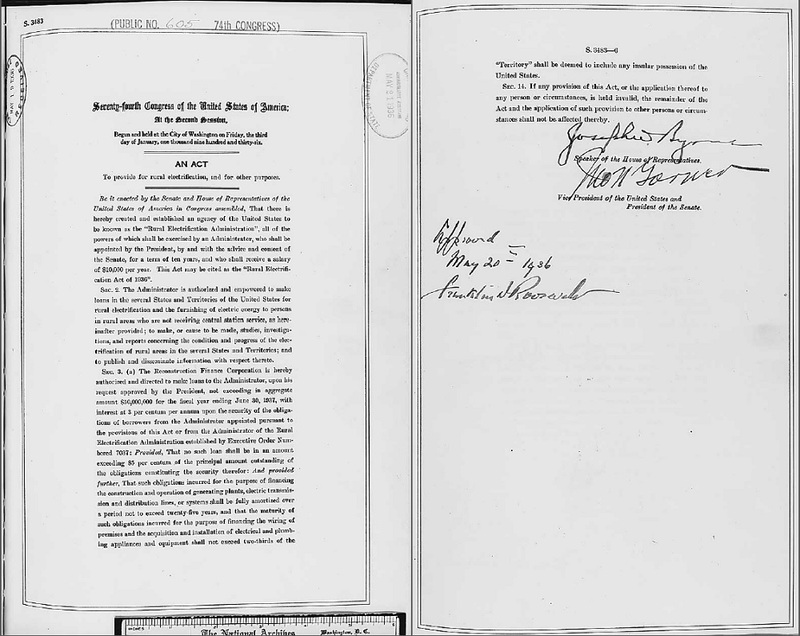 A portion of the Rural Electrification Act of 1936