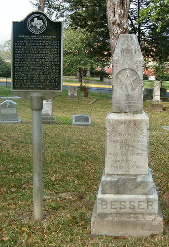 General John Slater Besser's historical marker and tombstone at Oakwood Cemetery at Huntsville, Texas.