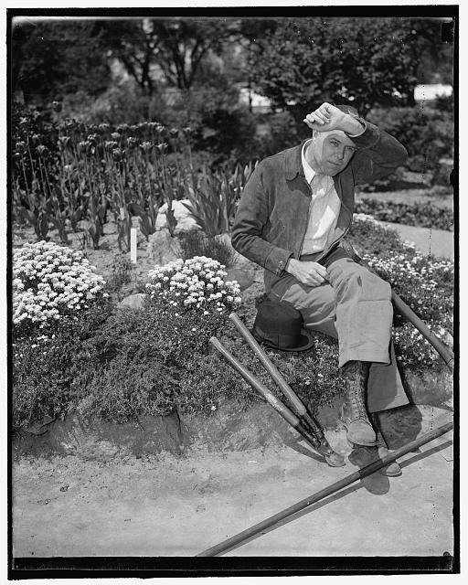Mopping his brow and a rest. Washington, D.C., May 7. Rep. W.R. Poage of Texas, taking a rest after working in the Botanical Gardens