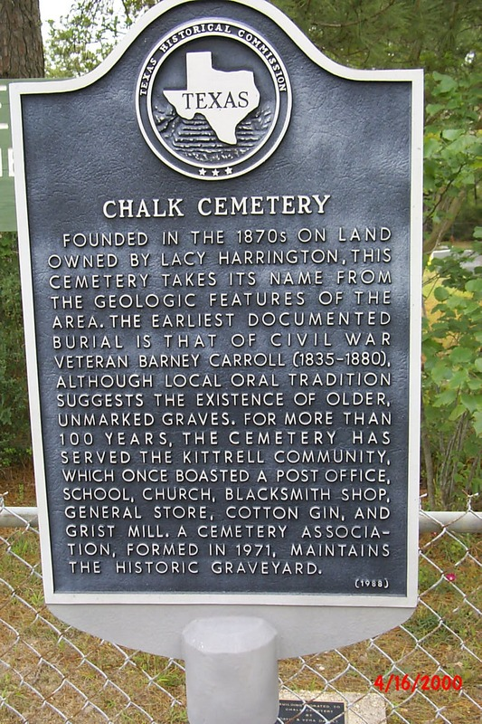 Official Chalk Cemetery historical marker sign.