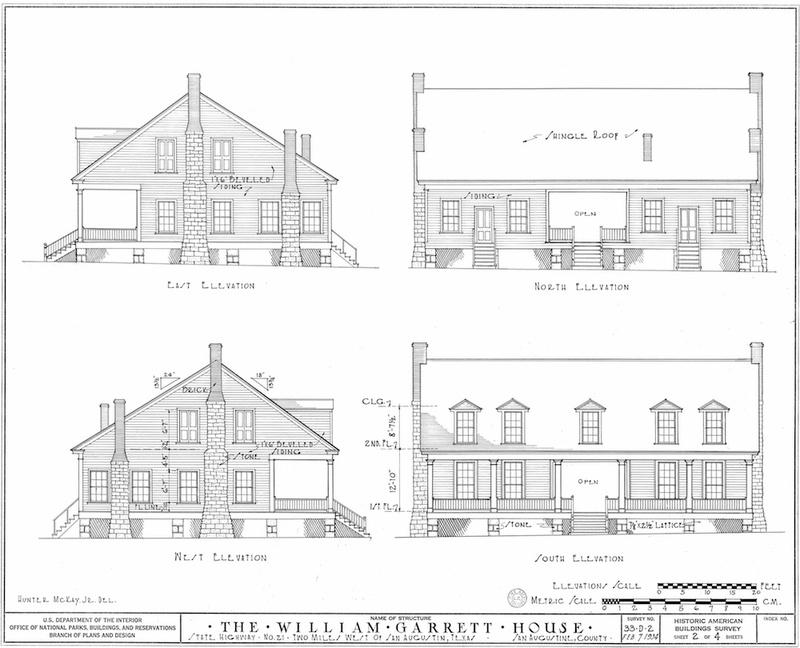 Garrett House Measured Drawing of Elevations