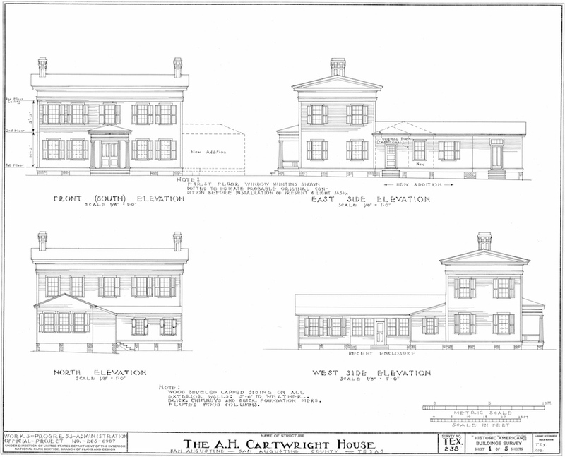 Cartwright House Measured Drawing of Elevations