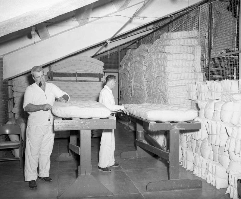 Inmates working in the Mattress Factory in the Wynne Unit, circa 1960