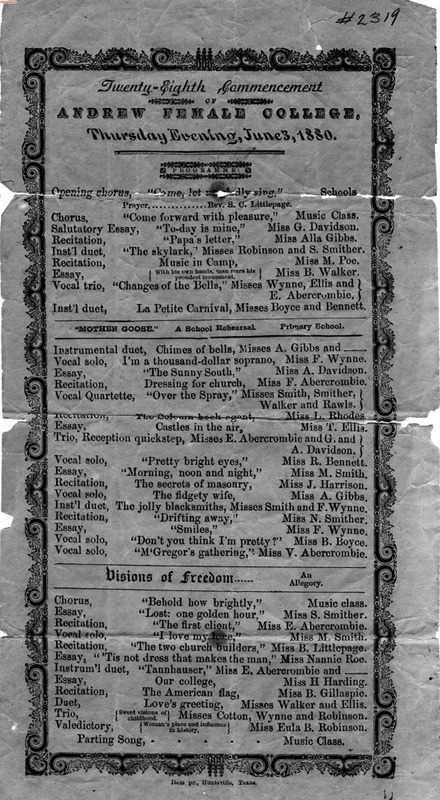 Commencement Program 1880