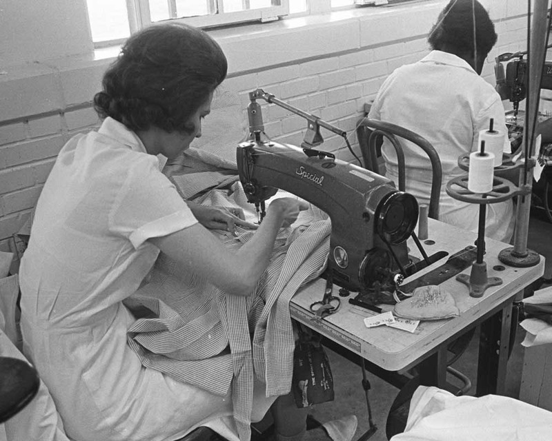 Female inmates working in the Garment Factory at the Goree Unit, circa 1966.