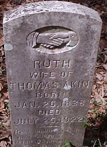 Grave marker of Ruth Leakey Akin at Shockley Chapel Cemetery in Dodge Texas.