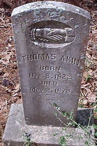 Grave marker Thomas Akin at Shockley Chapel Cemetery in Dodge Texas.