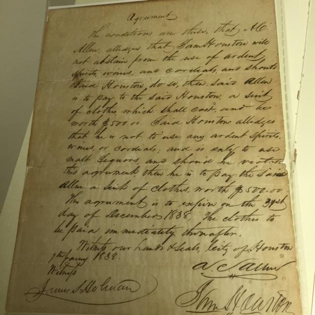 A gentlemen's agreement between Augusts C. Allen and Sam Houston
