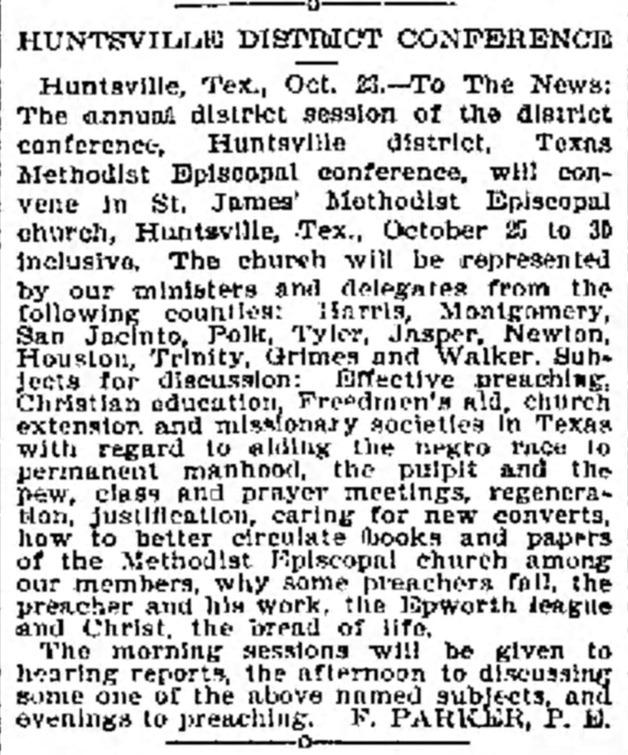 Galveston Daily News Clipping, October 25, 1893