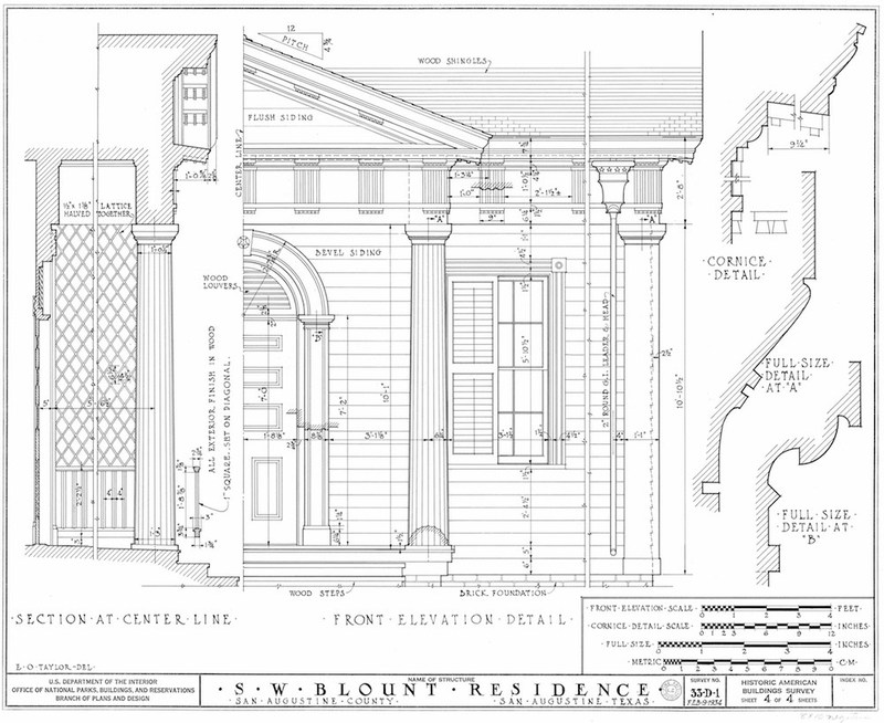Blount House Measured Drawing of Details