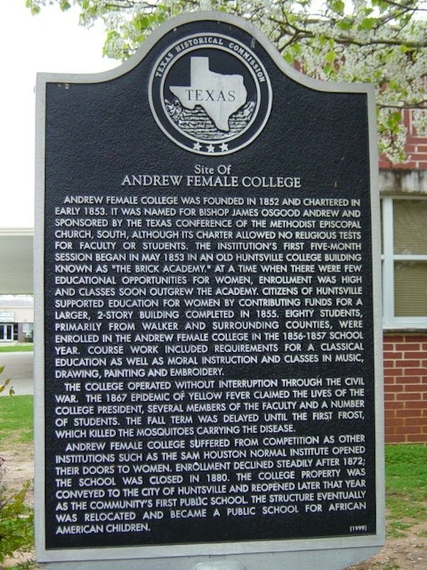 """Texas Historical Marker- """"Andrew Female College"""""""