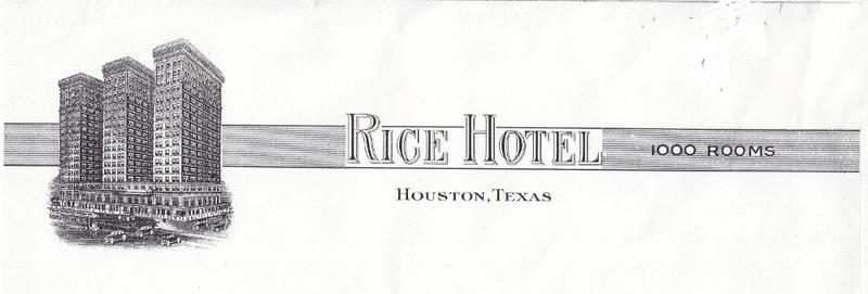 Rice Hotel Letterhead (c. 1935)