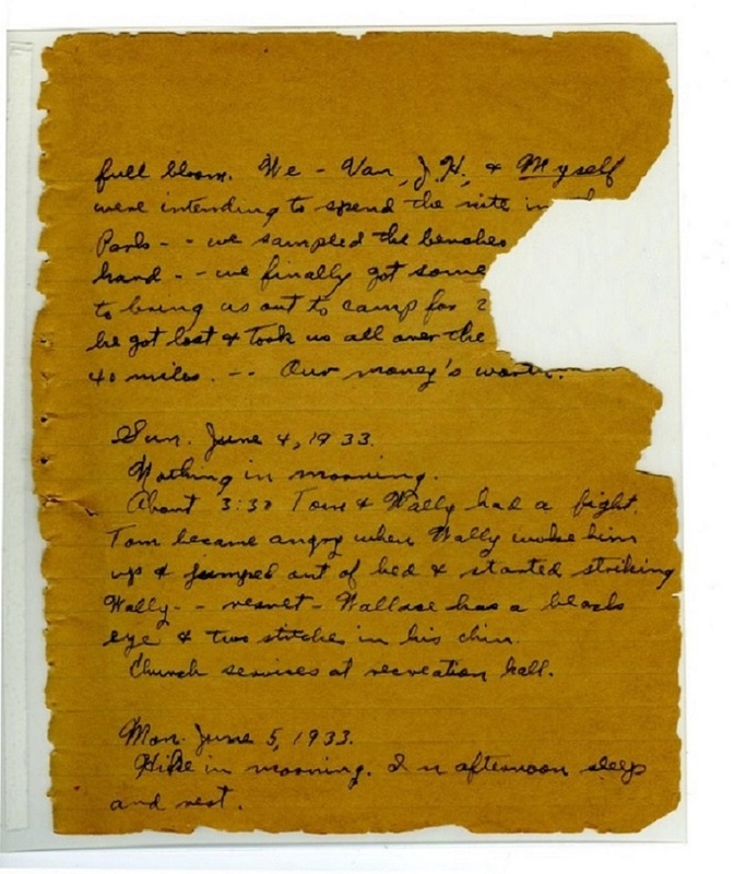 Page from Connie Ford McCann's Diary