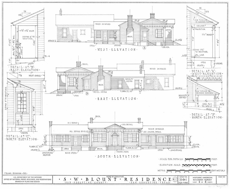 Blount House Measured Drawing of Elevations
