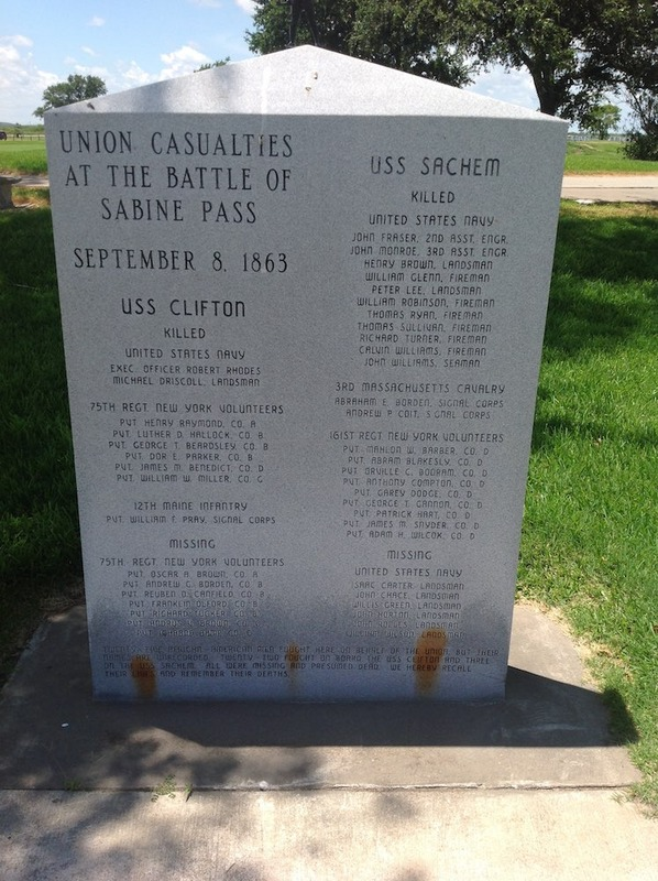 Monument to Union casualties during the Battle of Sabine Pass