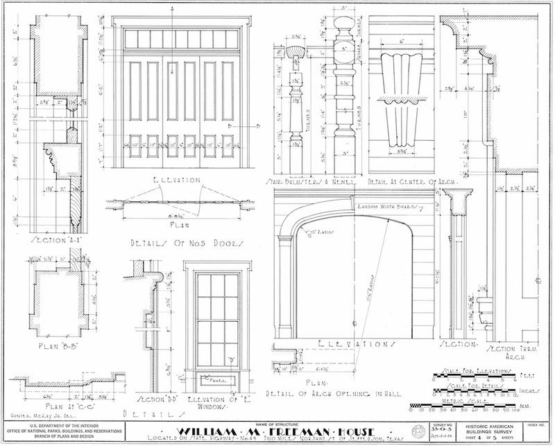 Freeman Plantation House Measured Drawing of Details
