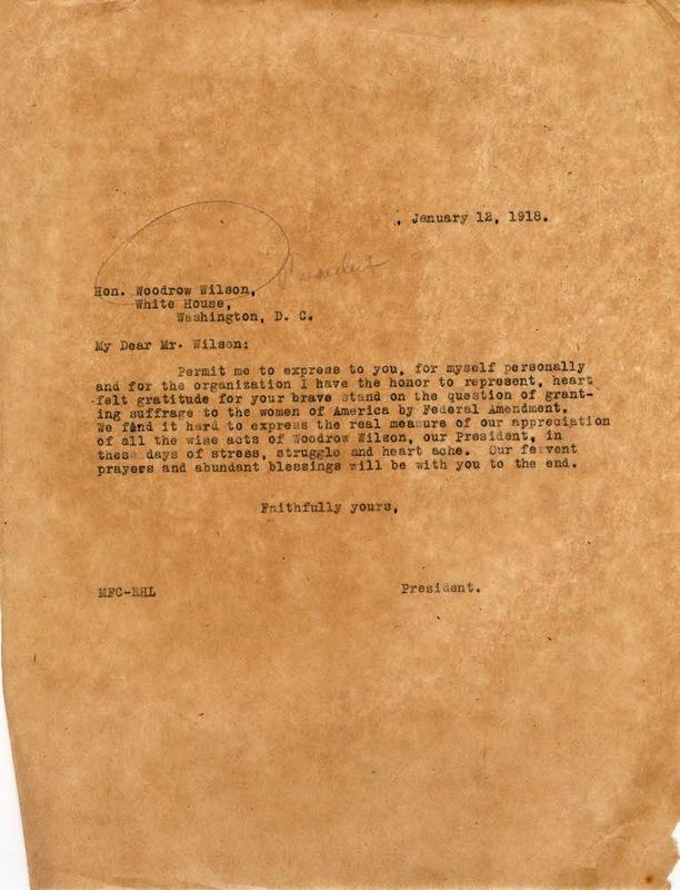 Letter to President Wilson