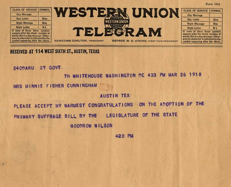 Telegram from President Wilson to Minnie Fisher Cunningham