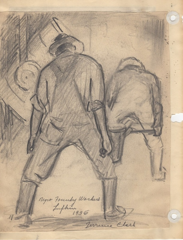 """Drawing Titled: """"Negro Foundry Workers, Lufkin, 1936,"""""""
