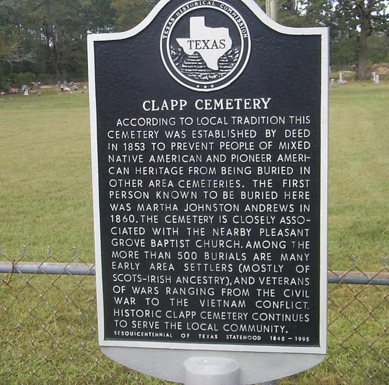 The official Clapp Cemetery historical marker.