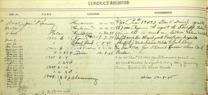 Prison Conduct Record for Jack Ramsey