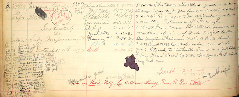 Prison Conduct Record for James Baker