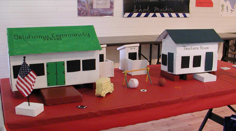 Model of the Oklahoma School and Teacher's Residence on display at the unveiling of the Historical Marker, September 27, 2003.