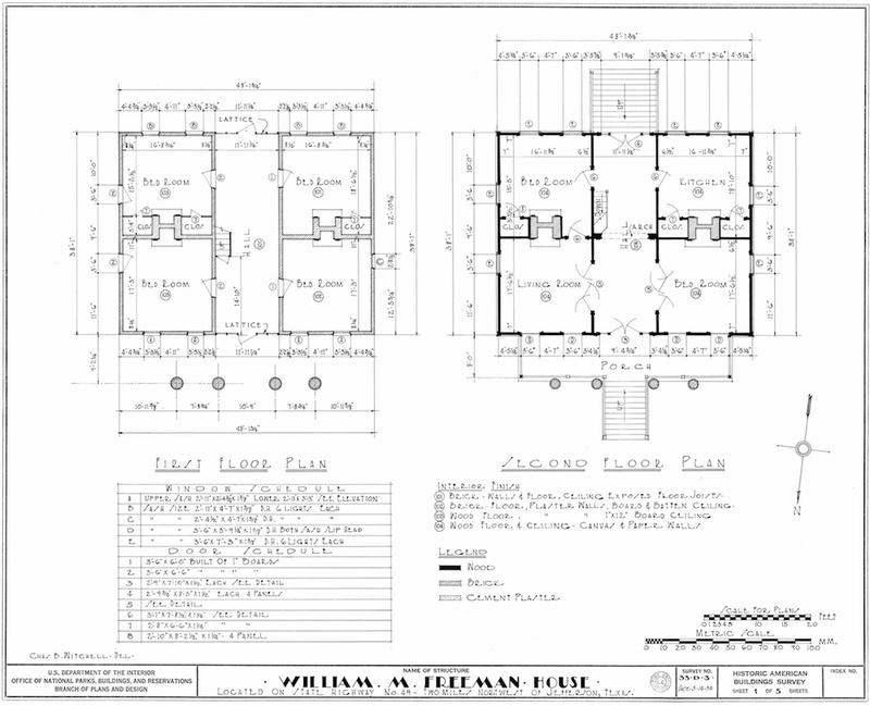 Freeman Plantation House Measured Drawing of Floor Plan