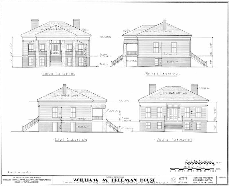 Freeman Plantation House Measured Drawing of Elevations